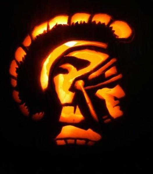 Tis the season for carving pumpkins, as seen here on this Mighty Trojan pumpkin.