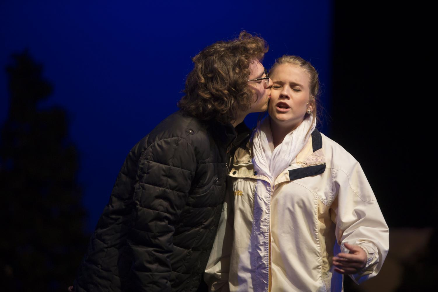Elijah Pacheco kisses Moriah Andrews on the cheek during a matinee performance of Almost Maine in the KW auditorium on Saturday October 21st.
