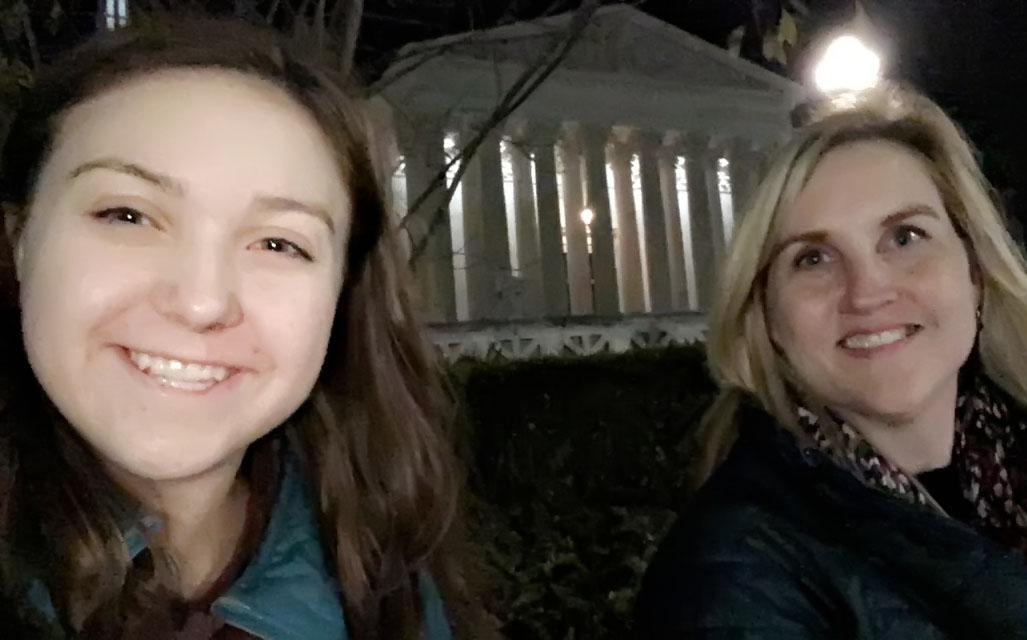 Junior Hadley Lloyd and her mother Heather Lloyd, stand outside the Supreme Court building awaiting a chance to get tickets inside to watch the Supreme Court at work.  The pair got to sit in on a hearing about privacy rights in America.