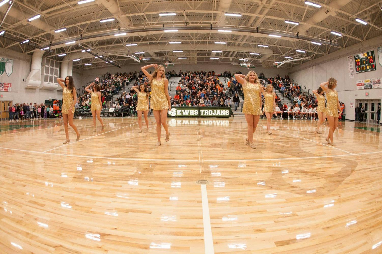 The KW Dance Team performs during halftime of the boys Peach Basket.  The team took 1th place at Nationals in both Small Hip Hop and Small Pom.