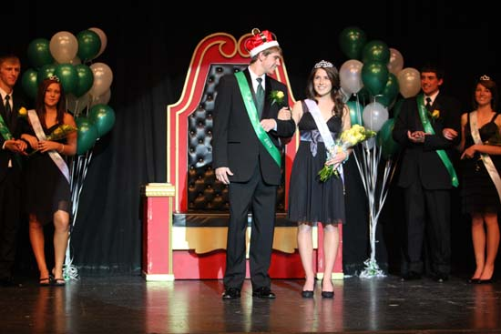 Class of 2010 Homecoming King and Queen, Lucas Nolan and Lauren Bradley stand in front to the KW royalty throne during the 2010 Homecoming Coronation.
